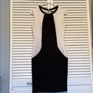 Black and white dress with gold zipper back